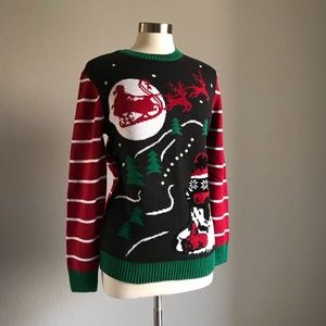 Ugly Christmas Sweater Knit Top Santa Striped *A11